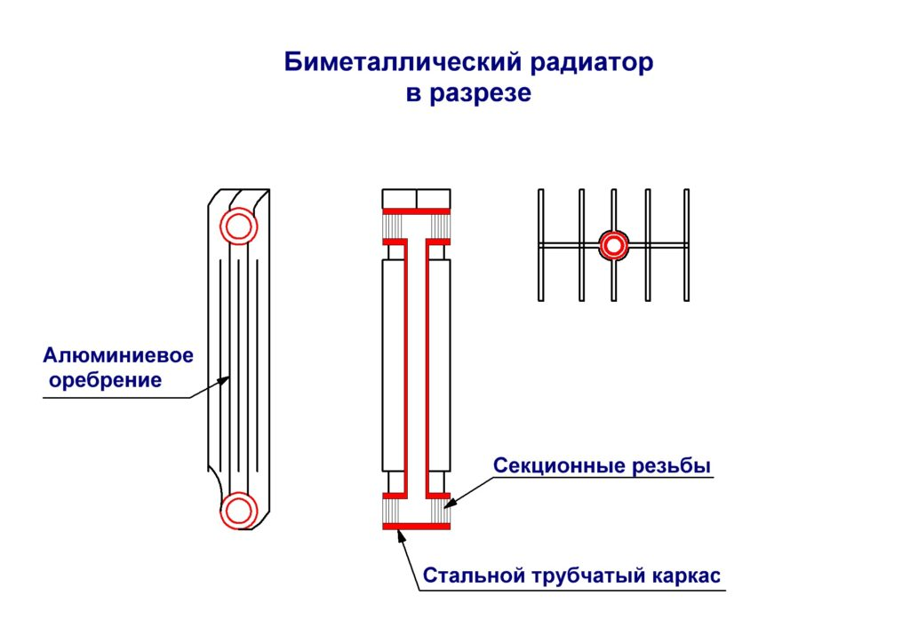 Биметаллический радиатор в разрезе
