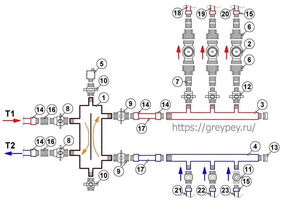 Подключение котла к системе отопления - вариант 2