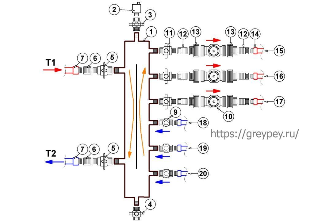 Подключение котла к системе отопления - вариант 3