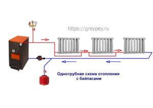 Однотрубная схема отопления с байпасами